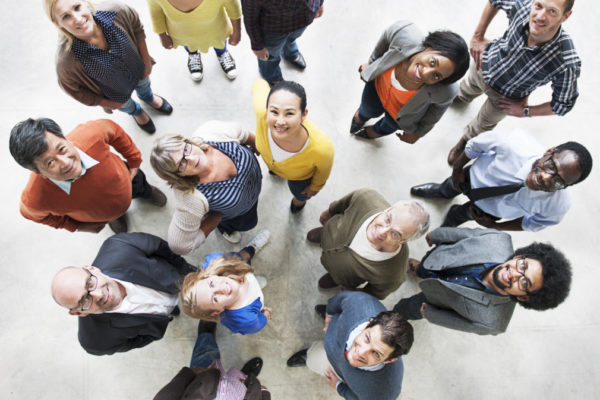 Diverse People Friendship Togetherness Happiness Aerial View Con